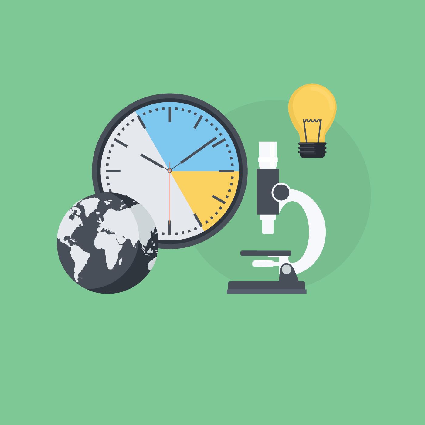 Eine Illustration von einer Uhr, einer Lampe, einem Mikroskop und einer Weltkugel