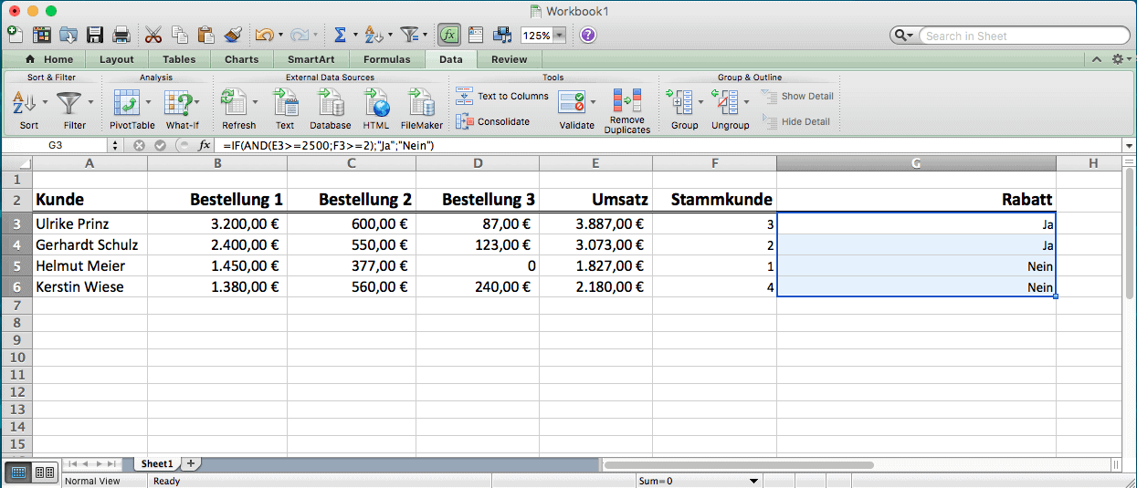 Excel Arbeitsblatt Wenn Dann : Microsoft excel wenn dann formel spielend angewendet