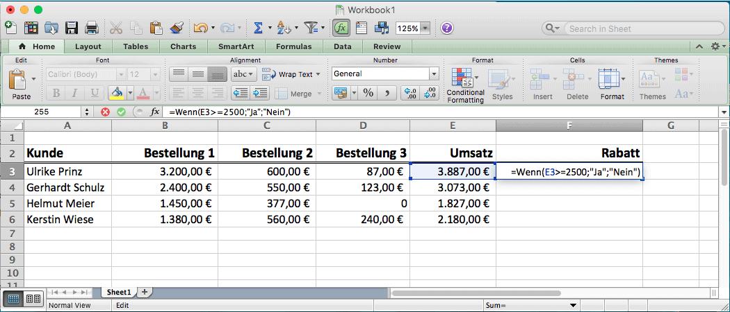 Microsoft Excel Wenn Dann Formel Spielend Angewendet
