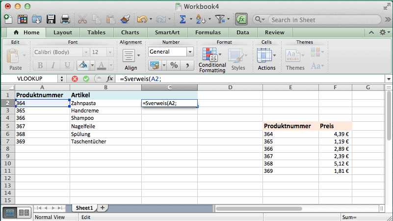 Workbook Datenblatt auf dem gezeigt wird wie man Zellen markiert und Suchkriterien vergibt