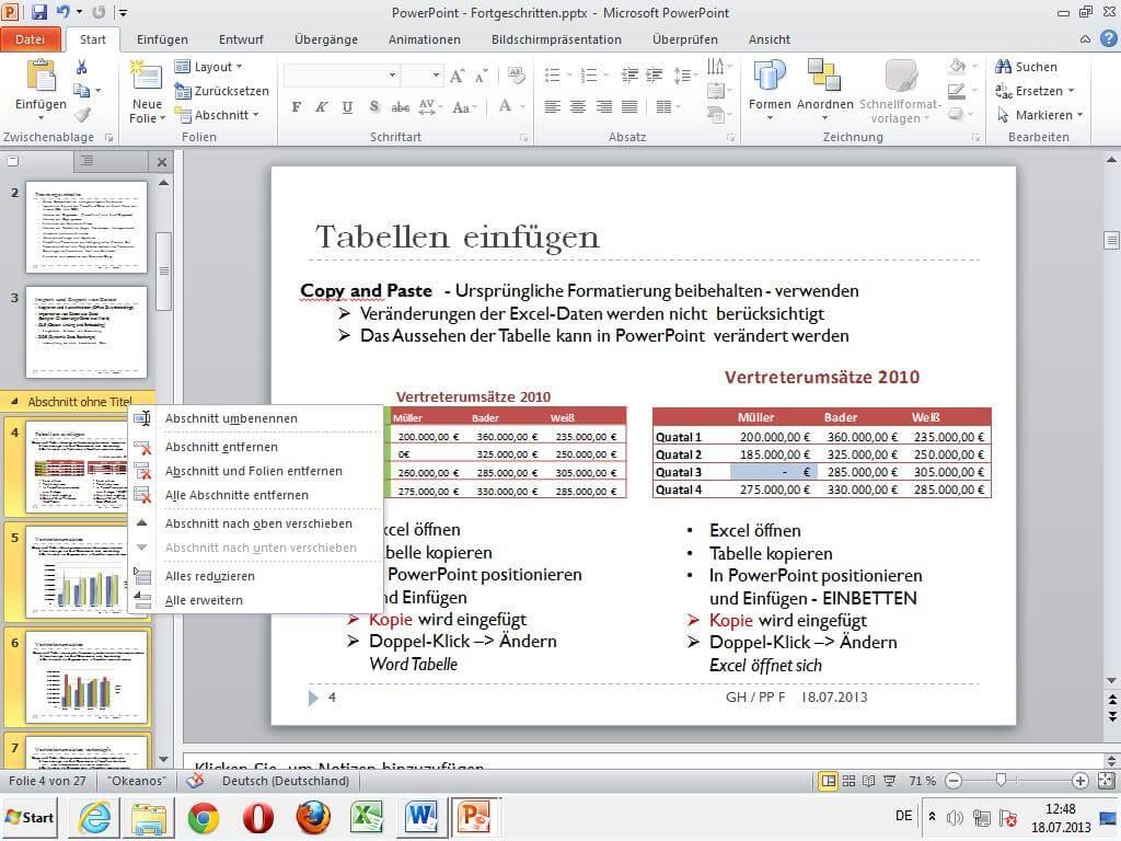 Eine PowerPoint Folie, auf der ein Abschnitt an Folien festgelegt wird.