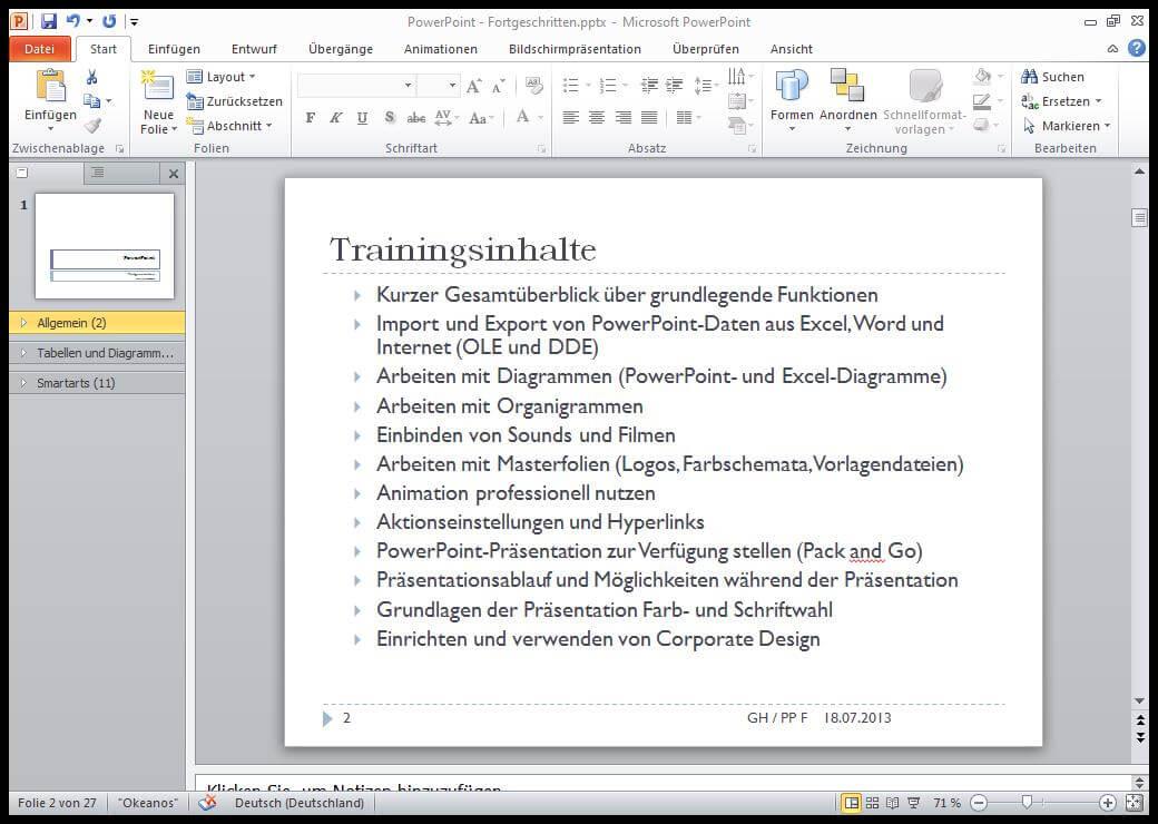 PowerPoint-Folie mit Text zu den Trainingsinhalten des Tutorials
