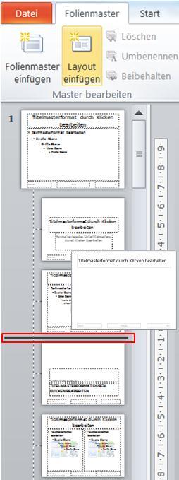 Zeigt mehrere Blätter des PowerPoint Folienmasters, in dem ein Layout eingefügt wird.