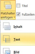 Detailaufnahme der Funktion Text als Platzerhalter in den Folienmaster einfügen. Die Funktionen sind markiert.