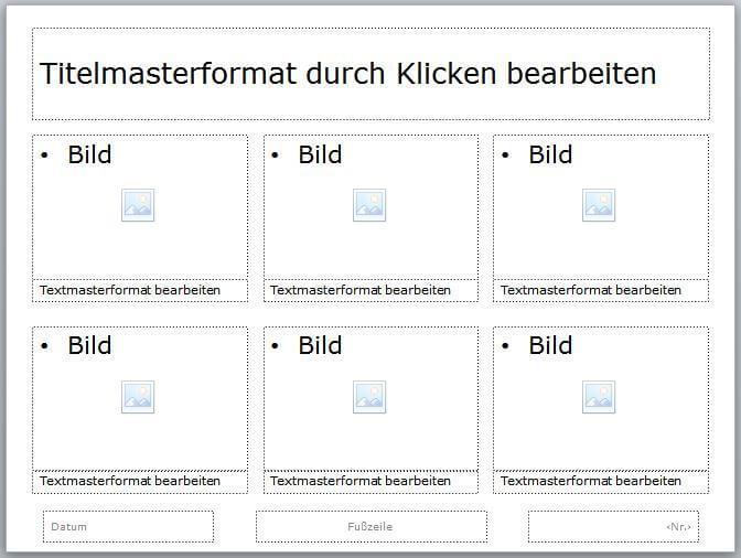 Eine PowerPoint Masterfolie mit sechs Bildern und Textunterschrift