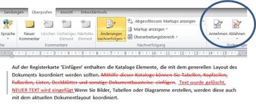 Zeigt eine Korrektur in Word und umkreist die Funktionen Änderungen annehmen oder ablehnen