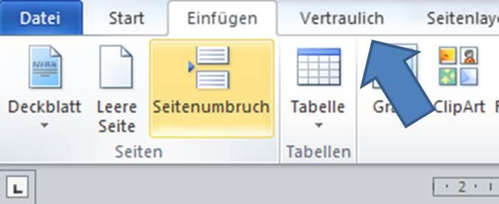 Zoom in Word auf die Funktion Seitenumbruch