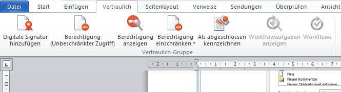 Zoom auf die Wordfunktionen zum Thema Berechtigung
