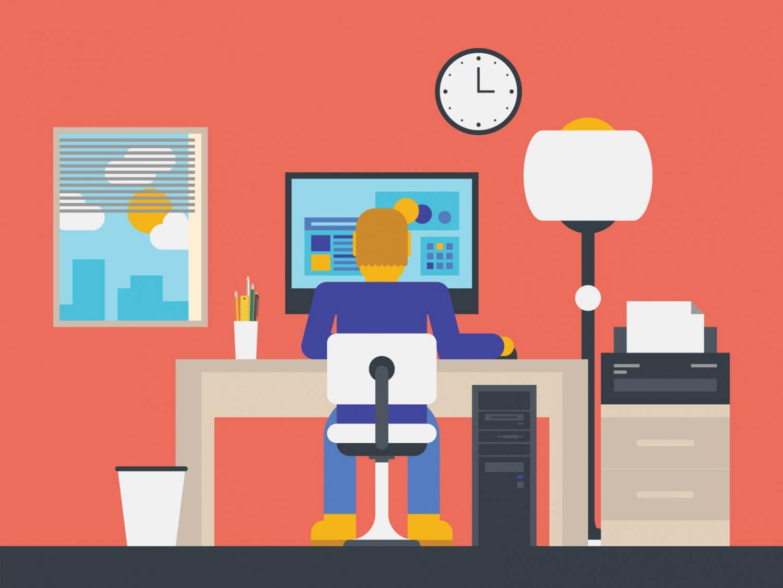 Eine Illustration von einer Person die in einem Büro arbeitet