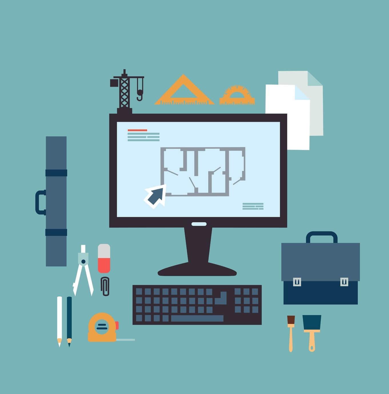 Grafik mit türkisenem Hintergrund, auf der ein Computer mit Tastatur zu sehen ist. Davor liegen eine Tasche, Stifte, Radiergummi und Pinsel