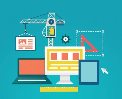 Eine Illustration von einem Laptop, einem PC und einem Tablett