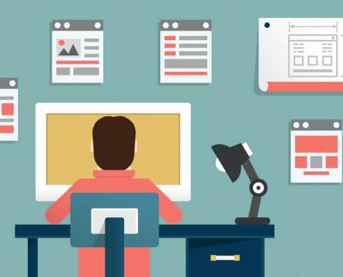 Eine Illustration von einer Person die im Büro arbeitet