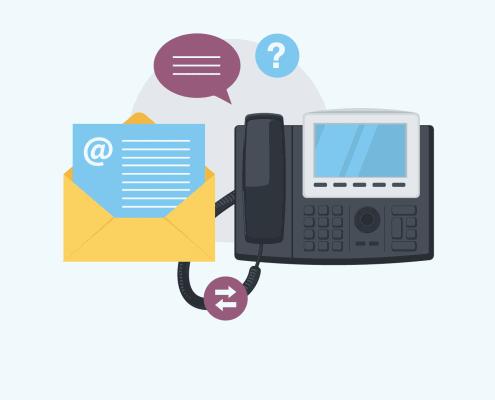 Eine Illustration von eine Telefon und einem e-mail Icon