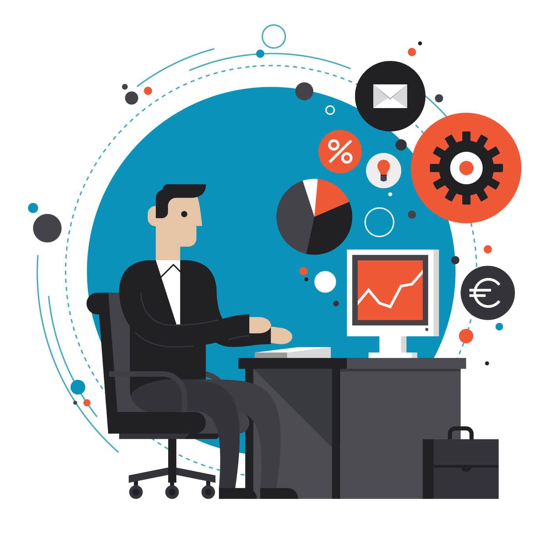 Eine bunte Illustration von einer Person vor einem Computer