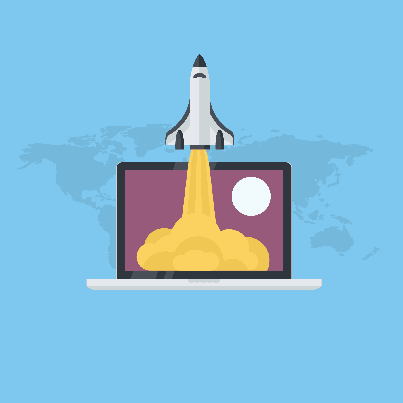 Eine Illustration von einem startendem Space Shuttle