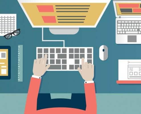 Eine Illustration von einem Schreibtisch
