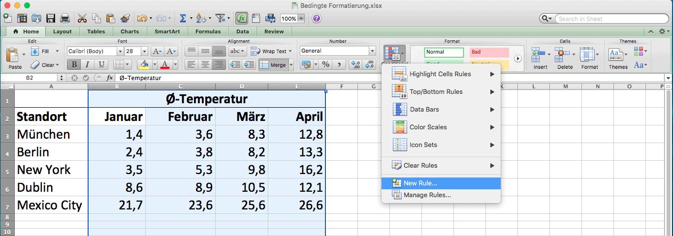 """Ein Excel-Datenblatt in dem die Funktion """"Neue Regel"""" ausgewählt ist"""