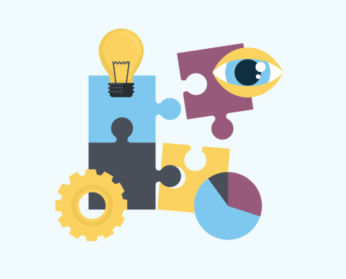 Eine Illustration von Puzzleteilen, einer Lampe, einem Auge, einer Uhr und einem Zahnrad