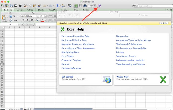 Excel-Datenblatt, auf dem die Hilfefunktion angeklickt wurde