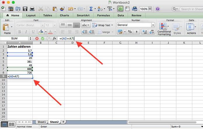 Exceldatenblatt, in dem eine Formel eingetragen ist