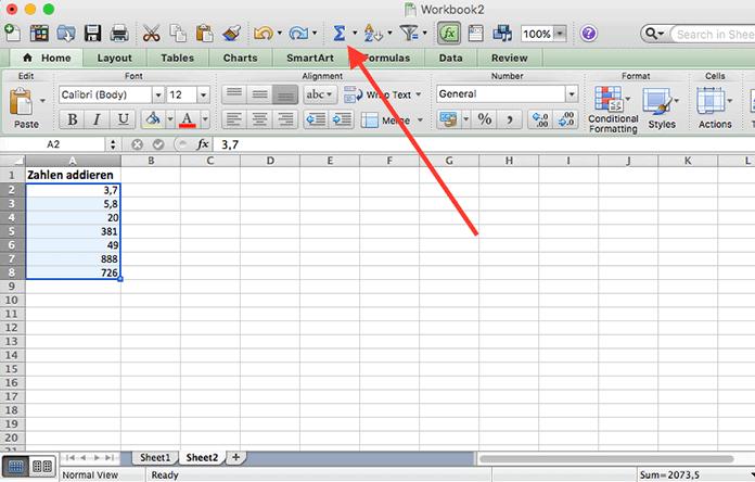 Excel-Datenblatt, auf dem das Formelsymbol ausgewählt ist