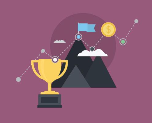 Illustration eines Pokals und eines Berges