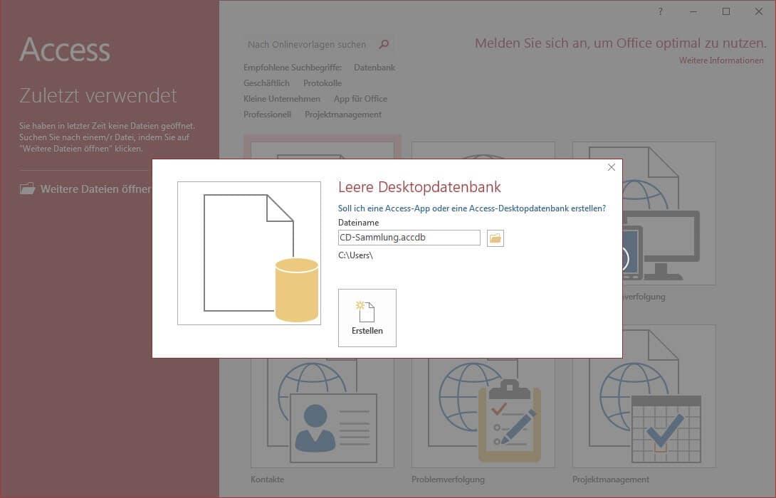 Screenshot einer leeren Desktopdatenbank in MS Access