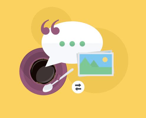 Illustration von einer Kaffeetasse und einem Bildericon