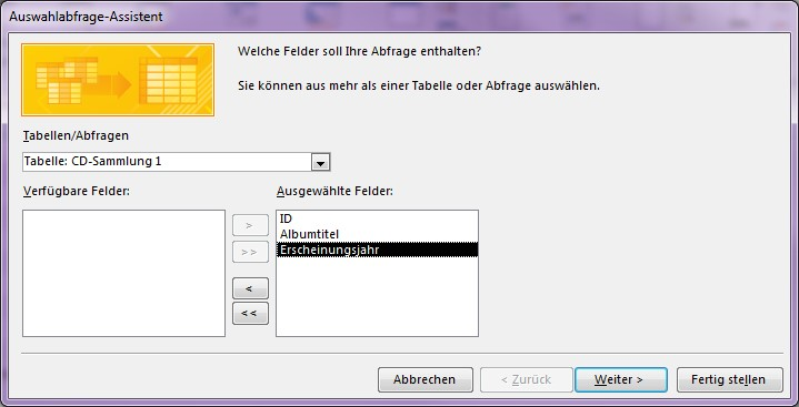 Screenshot des MS Access Auswahlabfrage-Assistent
