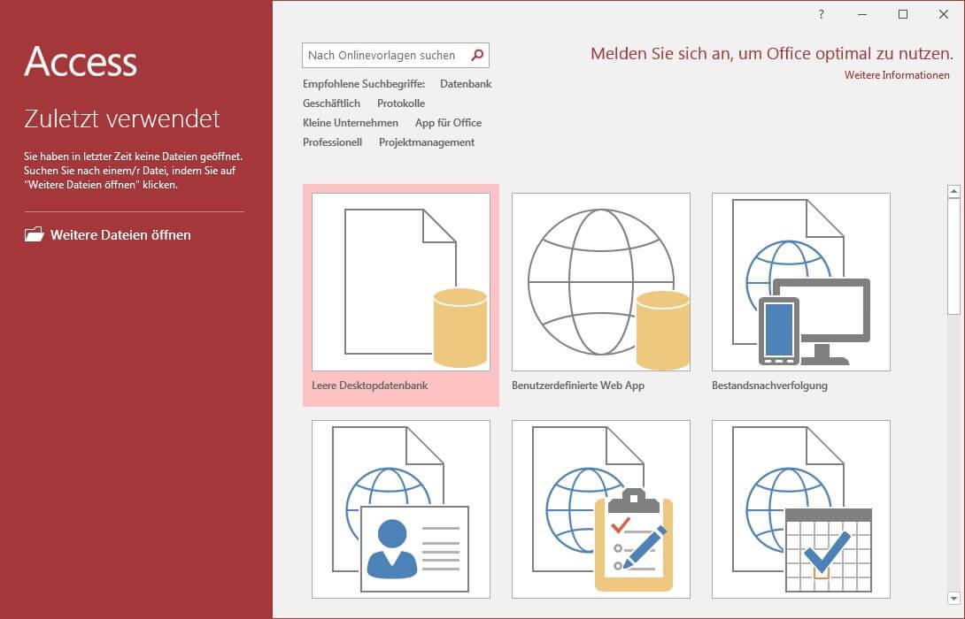 Screenshot von MS Access