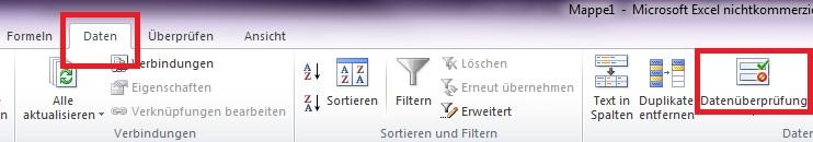 """Screenshot von dem Reiter """"Daten"""" in Excel"""