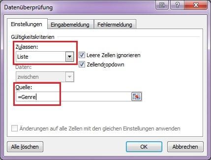 """Screenshot von dem Fenster """"Datenüberprüfung"""" in Excel"""