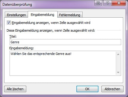 Screenshot des Fensters Datenüberprüfung