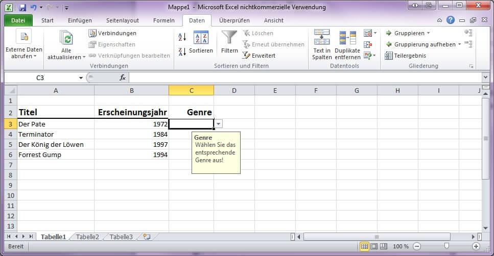 Screenshot eines Exceldatenblatts