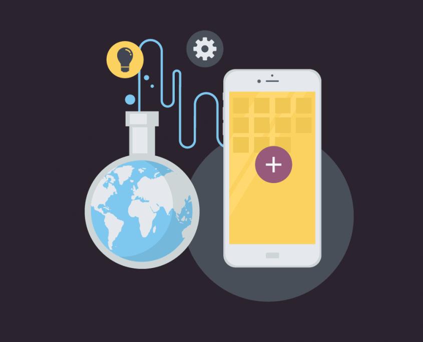 Illustration eines Smartphones und einer Weltkugel, die ein Reagenzglas aussieht und mit dem Handy verbunden ist