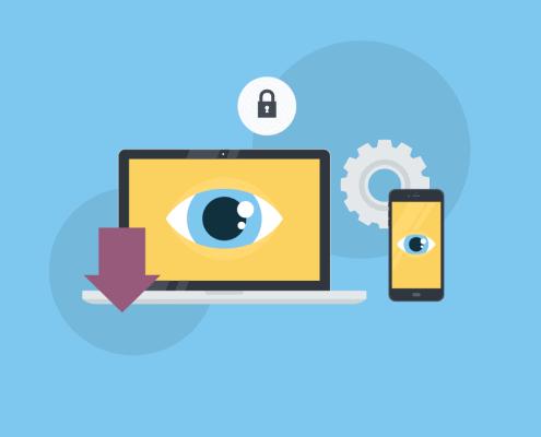 Bunte Illustration von einem Laptop und einem Smartphone