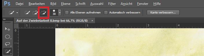 """Screenshot einer Photoshopdatei, die Funktion Schnellauswahlwerkzeug """"Auswahl subtrahieren"""" ist rot umkreist"""