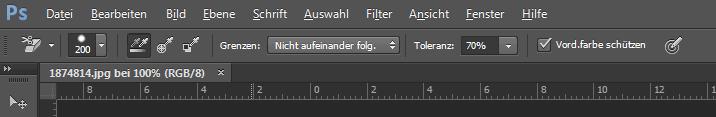 Screenshot einer Photoshopdatei, Zoom auf die Funktionen des Radiergummi-Werkzeuges
