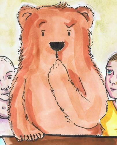 Ein gezeichneter Bär ist mit dem Schnellauswahlwerkzeug ausgewählt worden