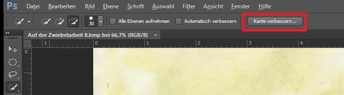 """Ein Screenshot einer Photoshopdatei, bei der die Auswahl """"Kante verbessern"""" rot umkreist ist"""