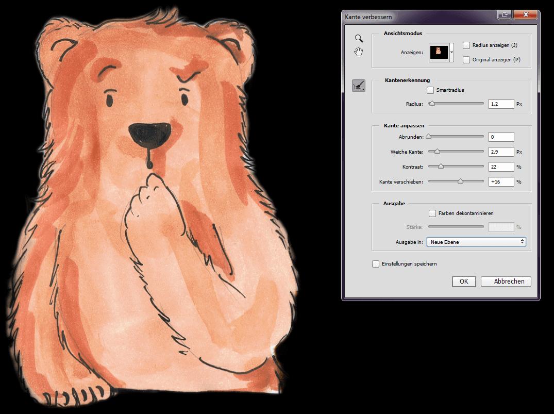 Photoshopdatei. Eine Zeichnung von einem Bär mit schwarzem Hintergrund.