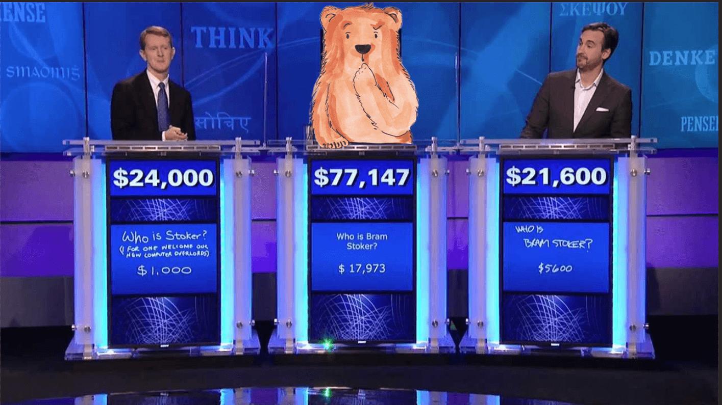 Bild einer Gameshow mit Männern und einem illustrierten Bär