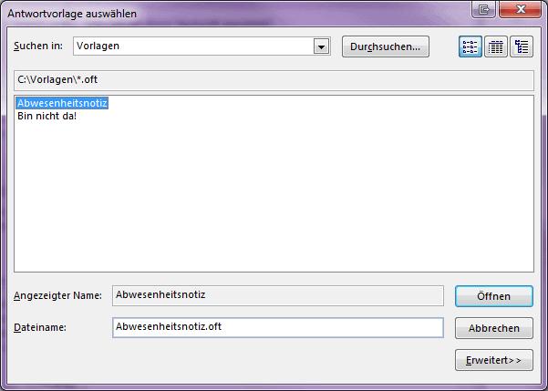 """Screenshot der Funktion """"Antwortvorlage auswählen"""" in MS Outlook"""