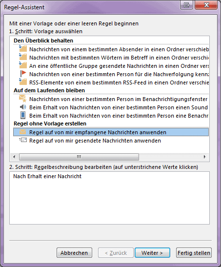 Screenshot einer E-Mail Regel in MS Outlook