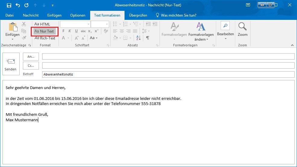 Outlook abwesenheitsassistent einrichten ohne exchange for Fenster englisch