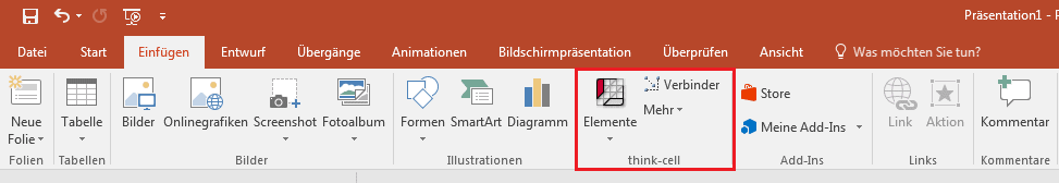 """Zeigt den """"think-cell"""" Button aus PowerPoint"""