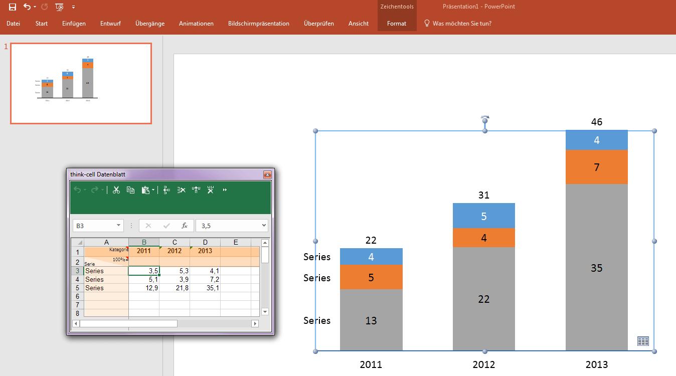 Zeigt das Erstellen eines PowerPoint-Balkendiagramms