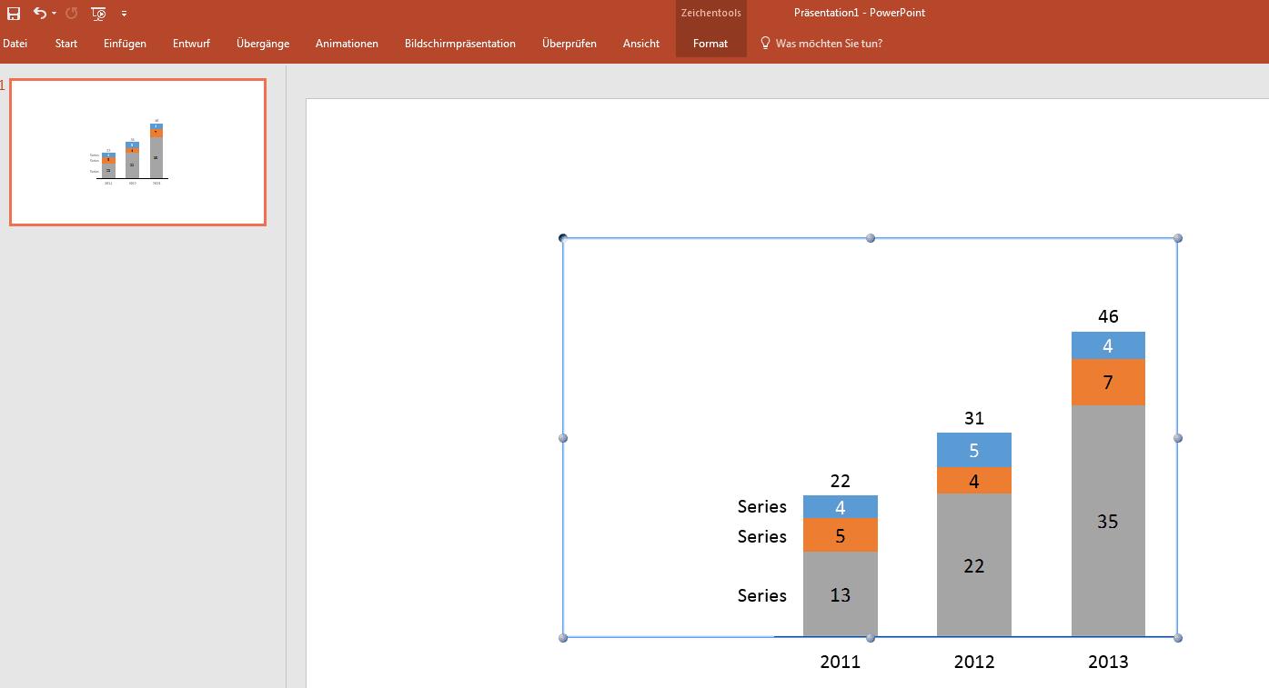 Zeigt ein Balkendiagramm in einer PowerPoint-Präsentation