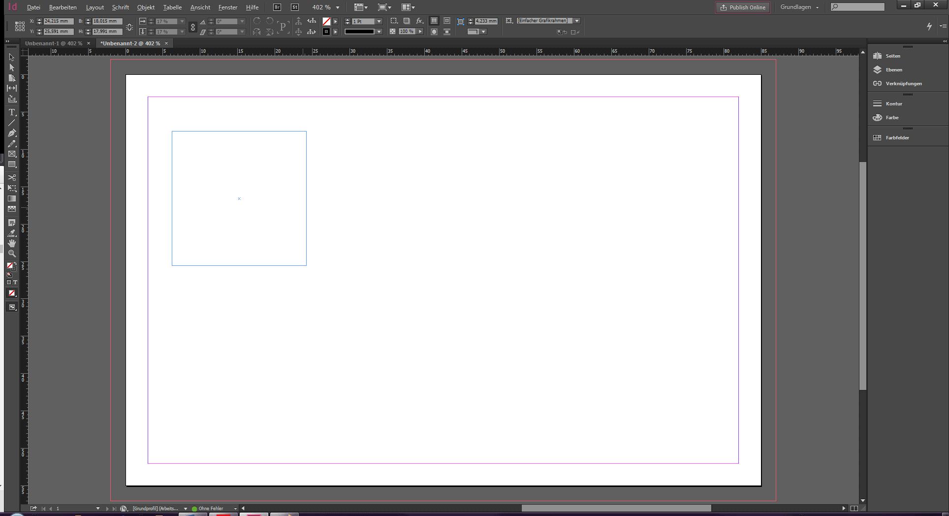 Zeig eine leere InDesign Datei