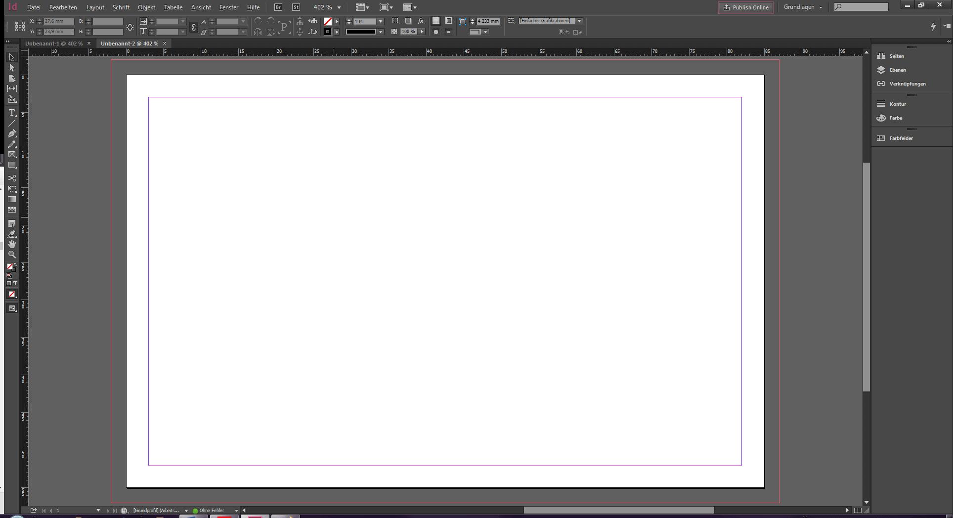 Zeigt eine leere InDesign-Datei